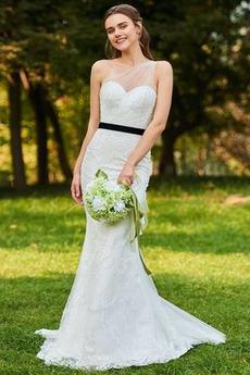 Robe de mariée Plage Naturel taille Sans Manches Épaule Asymétrique