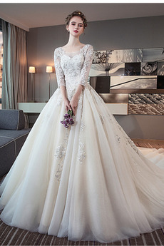 Robe de mariée Hiver aligne Satin Dos nu Formelle Sage