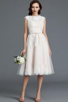 Robe de mariée Été Longueur Genou Glamour A-ligne Sans Manches
