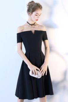 Robe de Cocktail Épaule Dégagée Manquant A-ligne Sommaire Manche Courte