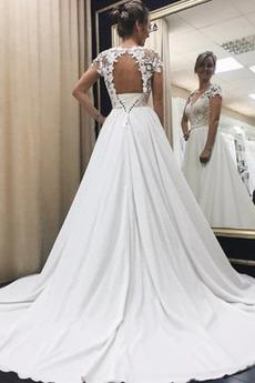 Robe de mariée Cathédrale Manche de T-shirt Manche Courte Manquant