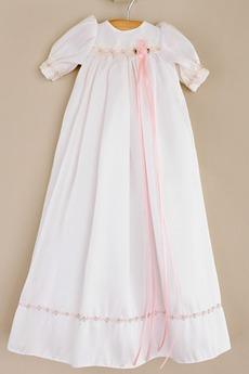 Robe de baptême Col ras du Cou Petites Tailles Nœud à Boucles