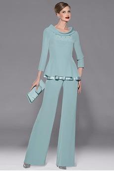 Robe de mère pantalon de costume Luxueux Gradins Mince Col Bateau