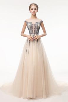 Robe de Bal Traîne Courte Zip Luxueux Norme a ligne Cristal