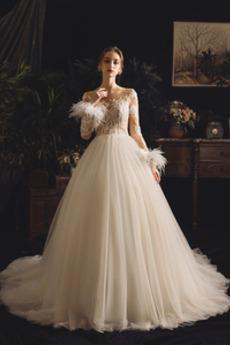 Robe de mariée Salle Manche Aérienne Romantique A-ligne Poire Lacet