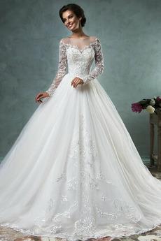 Robe de mariée Traîne Mi-longue Modeste Manche Longue Manche Aérienne