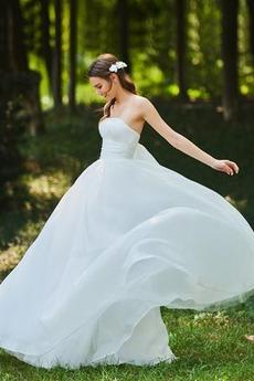 Robe de mariée Rectangulaire Longue Nœud à Boucles Luxueux haut bustier tube