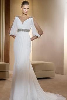Robe de mariée vogue Perler Tribunal train Col en V élancé Blanc
