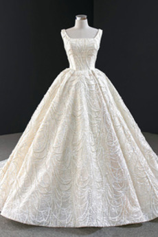 Robe de mariée Formelle Lacet Col Carré Naturel taille Traîne Mi-longue