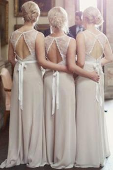 Robe Demoiselle d'Honneur noble Longue Sans Manches semi-halter