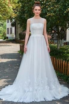 Robe de mariée Sans Manches De plein air Appliques Train de balayage