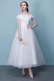Robe de mariée Appliques Naturel taille Manquant Tissu Dentelle