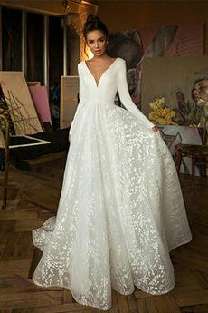 Robe de mariée Manche Longue Soie Couvert de Dentelle aligne Naturel taille