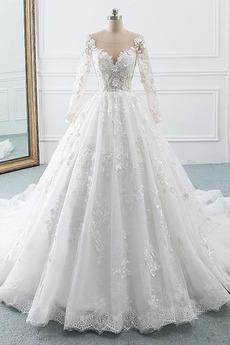 Robe de mariée Vintage Traîne Longue Naturel taille Gaze Manche Longue