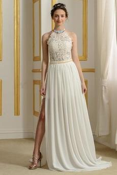 Robe de mariée Traîne Courte Couvert de Dentelle A-ligne Mince