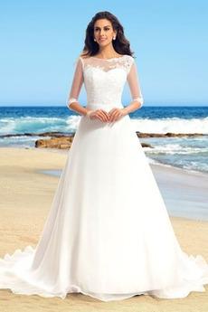 Robe de mariée Traîne Mi-longue aligne Mousseline de soie Couvert de Dentelle