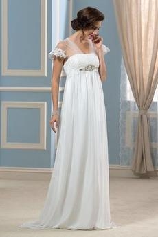 Robe de mariée Grossesse Col Carré vogue Fourreau pli À la masse