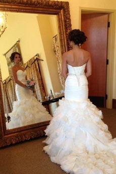 Robe de mariée Salle Organza Manquant Éternel Sirène Sans Manches
