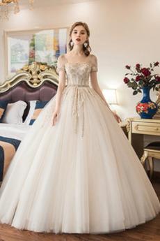 Robe de mariée Manche Courte Appliques Formelle A-ligne Manche Aérienne