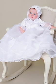 Robe de baptême Petites Tailles Orné de Nœud à Boucle Formelle