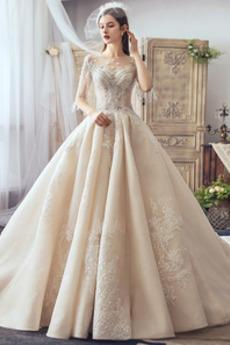 Robe de mariée a ligne Manche Courte Cérémonial Fourreau Avec Bijoux