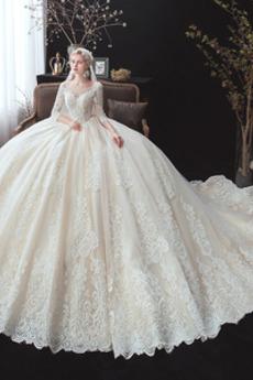 Robe de mariée Traîne Royal A-ligne Satin Col en V Foncé Lacez vers le haut