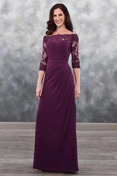 Robe Mère de Mariée Longueur Cheville Manche de T-shirt Zip a ligne