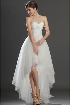 Robe de mariée Asymétrique Taffetas Zip col coeur Appliques Blanche