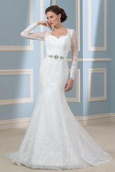 Robe de mariée Sirène Naturel taille Manche Aérienne Orné de Nœud à Boucle