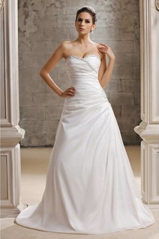 Robe de mariée Naturel taille Fourreau plissé A-ligne Poire Elégant