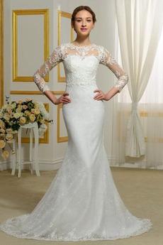 Robe de mariée Ruché Naturel taille Sans Manches Soie Gazer Sirène