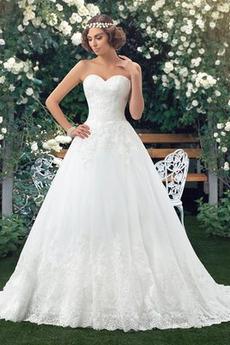 Robe de mariée col coeur Sans Manches Naturel taille Longue Bouton