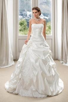 Robe de mariée Lacet Formelle Sans Manches Salle des fêtes Traîne Mi-longue