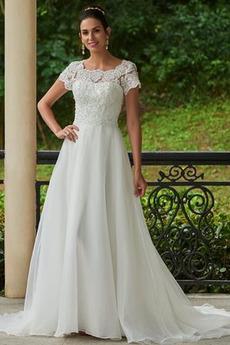Robe de mariée Salle Tissu Dentelle a ligne Haute Couvert Longue