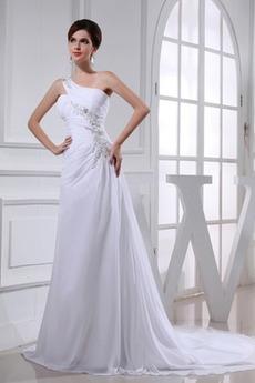 Robe de mariée A-ligne Lacet Médium Épaule Asymétrique Perle Chiffon