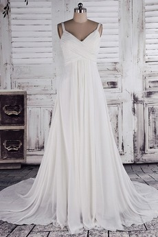 Robe de mariée semi-couverte Bretelles Spaghetti Chiffon Tribunal train