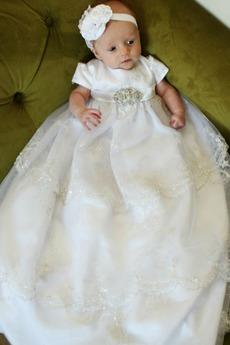 Robe de baptême Manche de T-shirt Dentelle Tulle Princesse Formelle
