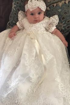 Robe de baptême taille haute Tissu Dentelle Cérémonial Manche Courte