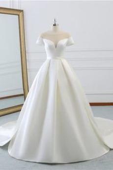 Robe de mariée Traîne Courte A-ligne Lacet Satin Cérémonial Col Bateau