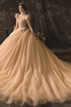 Robe de mariée Col haut Plumes Cérémonial A-ligne Lacet Salle