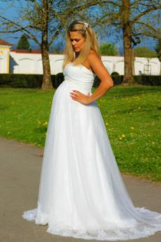 Robe de mariée Tulle Perle Haut Bas Elégant Traîne Courte Lacet