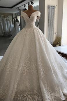 Robe de mariée Lacet Naturel taille Au Drapée A-ligne Traîne Royal