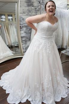 Robe de mariée Formelle Longue Tissu Dentelle Appliques Fermeture éclair