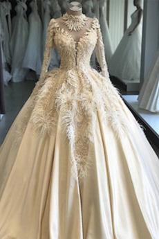 Robe de mariée Manche Longue Col haut Appliquer Naturel taille Plage
