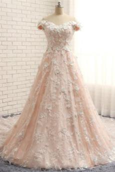 Robe de mariée Tulle Naturel taille Manche Courte Épaule Dégagée