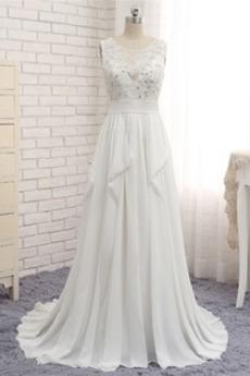 Robe de mariée Été Chiffon Longue Ruchés Plongeants Plage Corsage Avec Bijoux