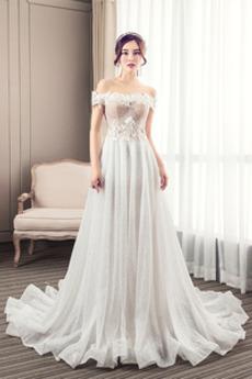 Robe de mariée Tulle De plein air Traîne Courte A-ligne Norme