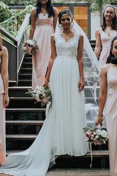 Robe de mariée Elégant De plein air Sans Manches Décolleté Dans le Dos