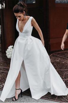 Robe de mariée Simple Naturel taille Satin Été Ouverture Frontale