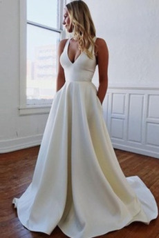 Robe de mariée Dos nu Traîne Courte Été Naturel taille Sans Manches